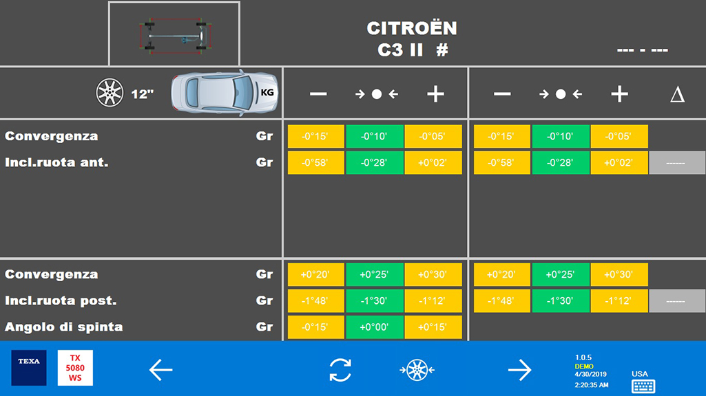 During the wheel alignment check, the software lets you enter the diameter of the tires, then displays the nominal ranges for toe, semi-toe and thrust angle.