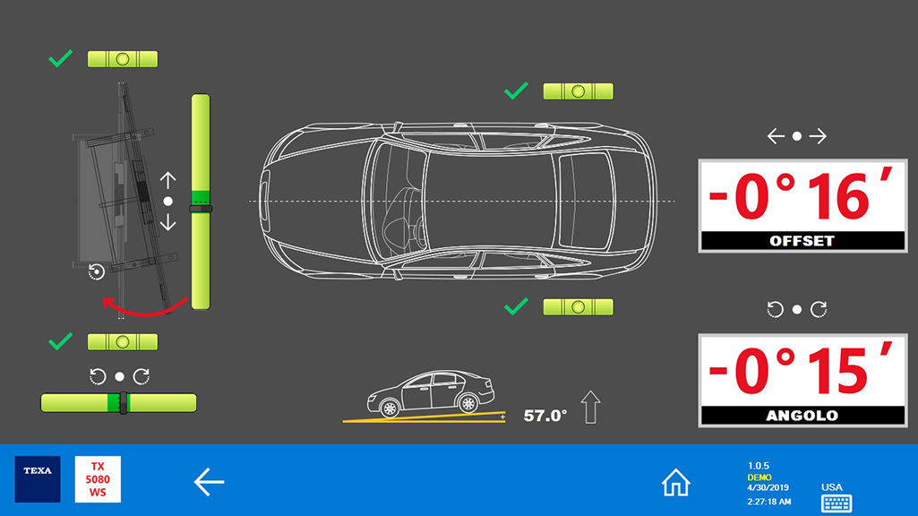 """The message """"OFFSET"""" shows how much the RCCS 3 structure is misaligned with respect to the vehicle's centreline. """"ANGLE"""" shows the structure's angle of yaw with respect to the vehicle's centreline."""