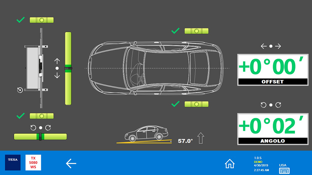 The structure is correctly aligned with the vehicle and the radar or camera system can now be calibrated.